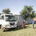 Van arriving with e-waste at Lilongwe collection container